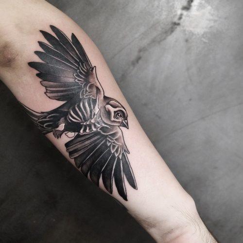 Jem D Marshall - Tatouage - Rouen - Oiseau
