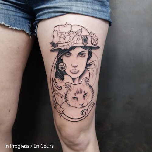 Jem D Marshall - Tatouage - Rouen - Chat